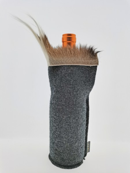 1er Weinhusse mit Springbockfell u. Filz Albrecht - Walk Farbe grau-schwarz